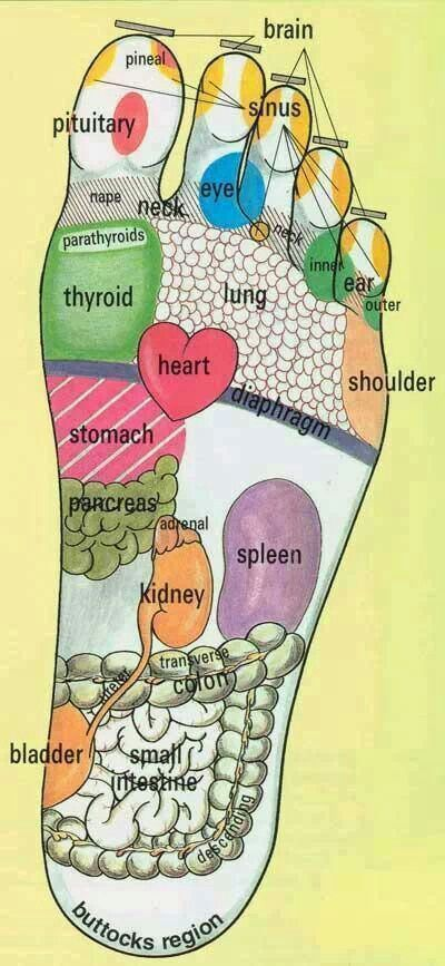 Great chart of places on the foot to massage to send increased bloodflow to the corresponding part of the body to relieve pain. .