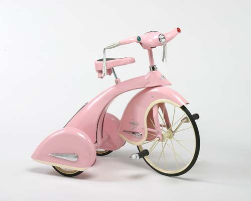 """Sky Princess Tricycle: These beautiful 1936 replicas are a collectible for years to come. Made of high quality steel and identical in every way to the Sky King of old. 26"""" High - Beautiful Pink Powder Coat with Chrome insignias"""