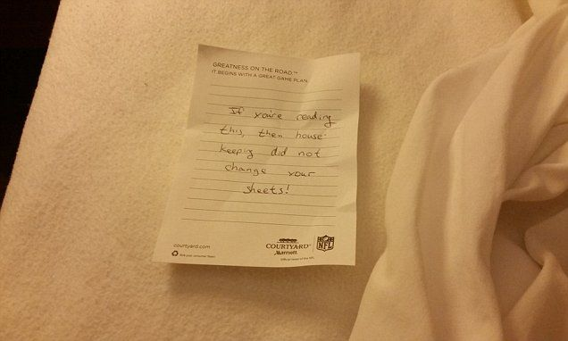 Courtyard Marriott guest shares note found under hotel bed sheets on Reddit   Daily Mail Online