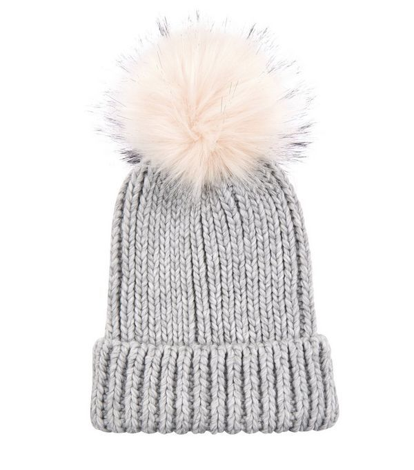 Light Grey Faux Fur Pom Pom Hat | New Look
