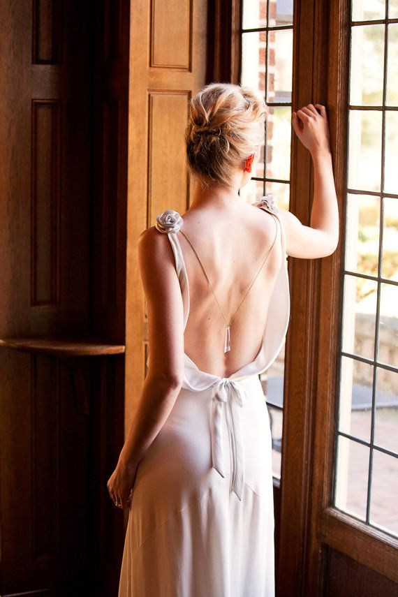 Wedding Dress Backless 1930 1920 Art Deco by FrenchKnotCouture