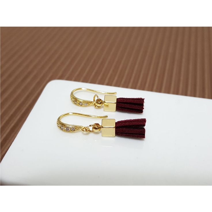 Korean Fashion Jewelry Burgundy Tassel Earring For Women Girls Ladies #Rielar #Hook