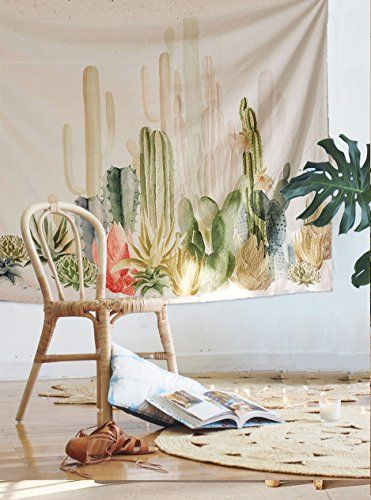 """Cactus Landscape Wall Tapestry Fabric Wallpaper Home Decor,60""""x 80"""",Twin Size 