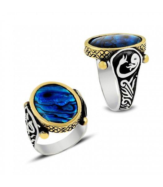 Gümüş Okyanus Sedefi Taşlı Erkek Yüzüğü EY670