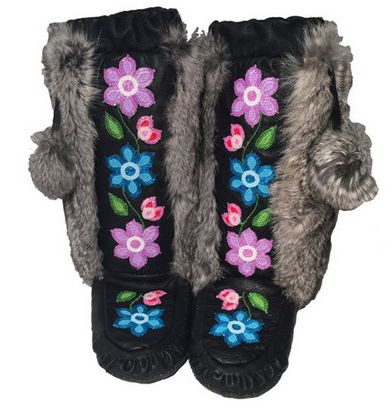 StoryBoots - Rosa Scribe Purple & Blue Floral Nappa Leather Mukluks