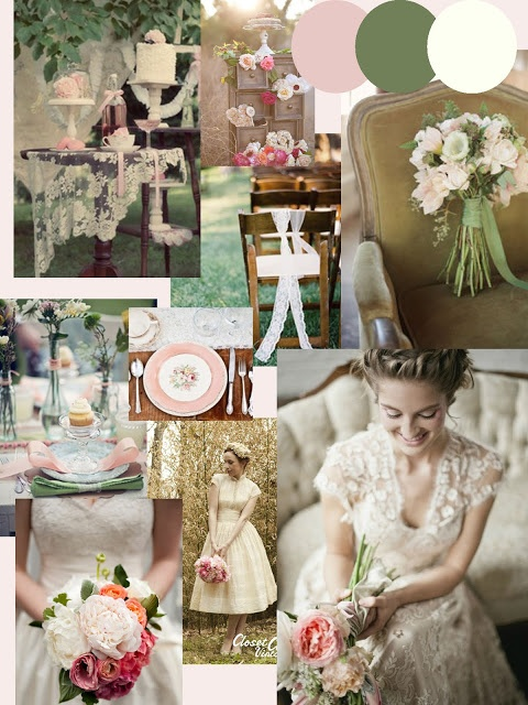 Dusky Pink  Sage Green Wedding Inspiration http://knotsandkisses.blogspot.com