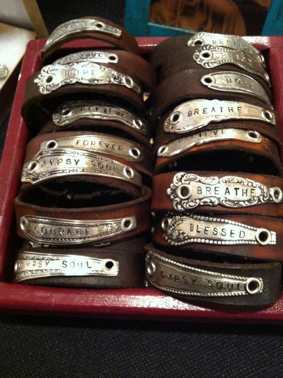 Personalized Spoon on Leather Cuff Bracelet by twotwistedgypsies