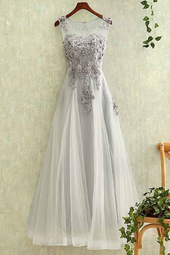 Gray tulle round neck lace applique see-through long evening dresses