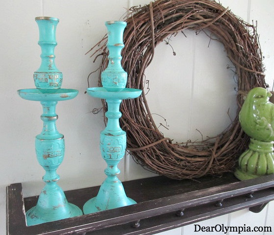 Two Copper Candlesticks Painted and Distressed by DearOlympia, $40.00 | Distressed | Chalk Paint | Cross | Home Decor | CeCe Caldwell Paint | painting metal | distressing metal | Santa Fe Turquoise