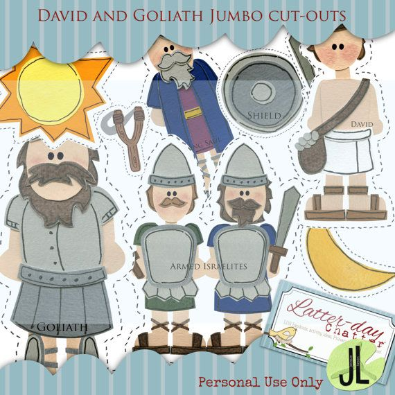 David and Goliath Jumbo Cut-outs by LatterdayChatter on Etsy