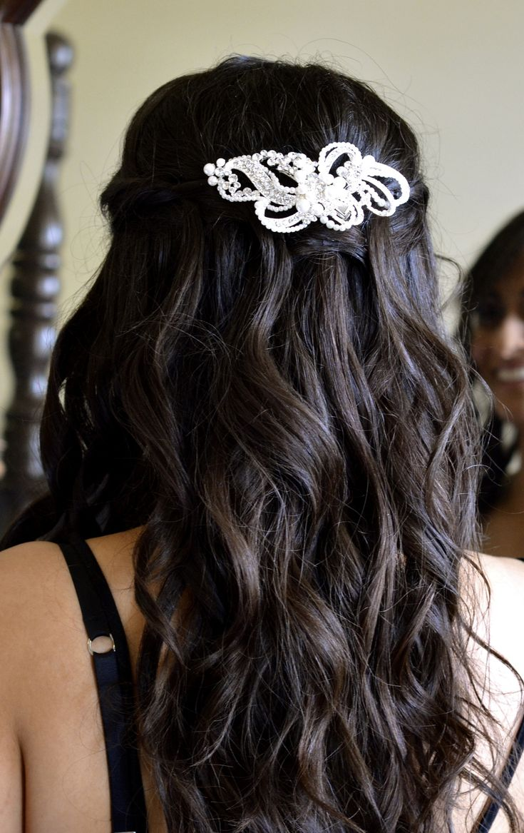 Bridal long wavy hair with hairpiece