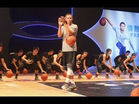 Stephen Curry teaches his Dribbling Skills, Floaters & 3-Pointers (2015 Tokyo UA tour) - YouTube