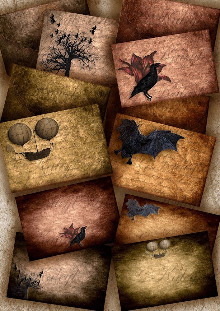 Karte mit Kuvert,Steampunk. halloween, industial,viktorianisch,vintage,shabby chic, Epherma,10x15cm,Briefpapier,4 x 6zoll,druckbare collage von KaleylArts auf Etsy