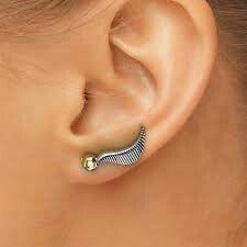 Snitch earrings lobe piercing #earrings #harry potter