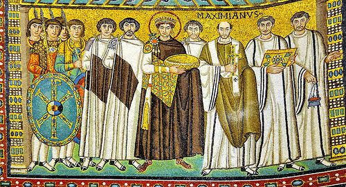 RAVENNATE ART. Justinian I with Archbishop consecrator of the church Maximian and imperial court on the left of the apse at Basilica of San Vitale, 548 AD completed - Ravenna. Photo by edk7, via Flickr. Neither Justinian nor his wife actually have never attended the consecration of the church! Large HD