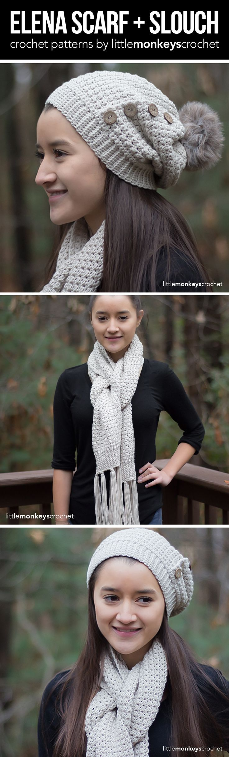 Elena Scarf and Slouch Hat Crochet Pattern Set   Free classic winter scarf and slouchy beanie hat crochet patterns by Little Monkeys Crochet
