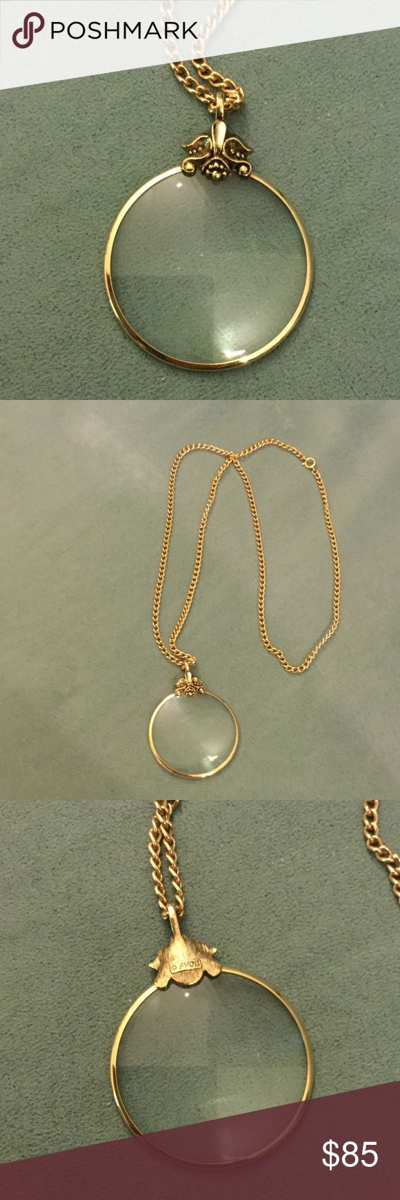 """Vintage AVON Magnifying Glass Gold Plated Necklace Perfect condition, 28.5"""" chain. 1 13/16"""" diameter on pendant. Vintage Jewelry Necklaces"""