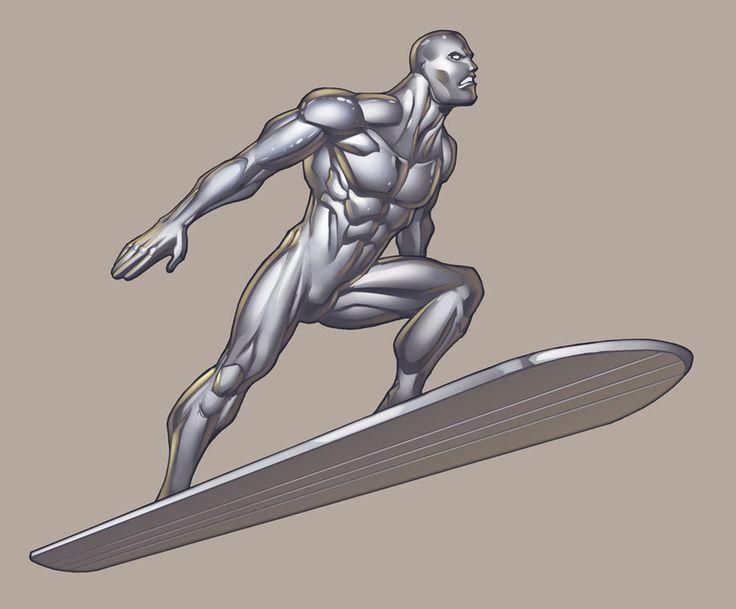 The Silver Surfer, che emerge dal muro a sinistra (in profilo così), ma disegnato con lo stile del fumetto (segnato)
