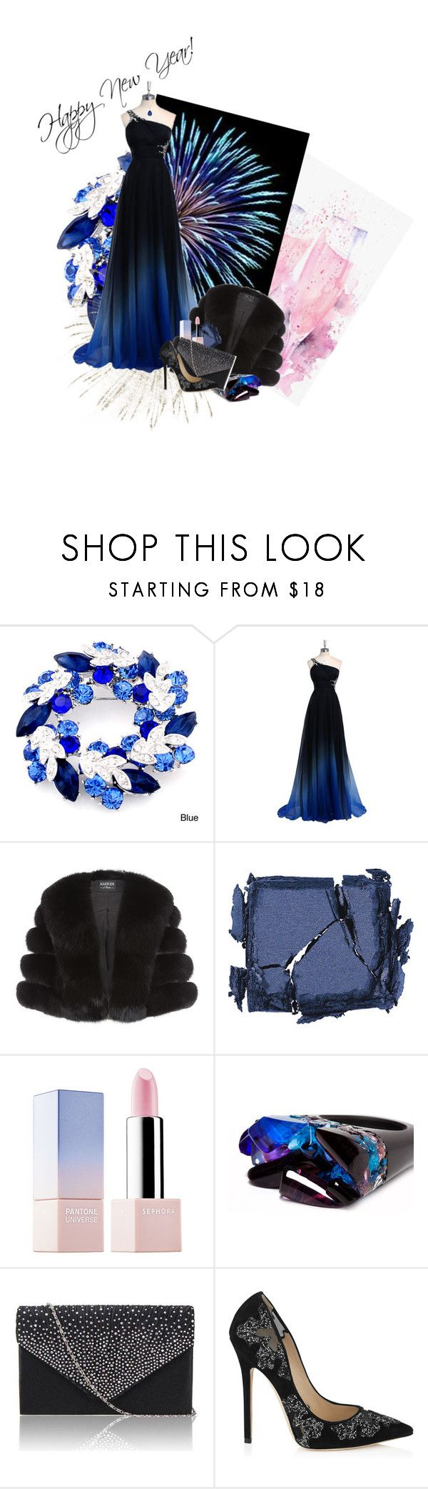 """Happy New Year"" by anna-jarovaja-v on Polyvore featuring Harrods, Surratt, Sephora Collection, Pasionae, Jimmy Choo and Baccarat"