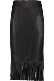 Sandro Jael fringed leather midi skirt