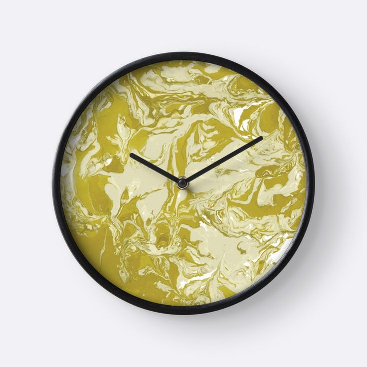 """Yellow and white marble texture."" Clocks by kakapostudio 