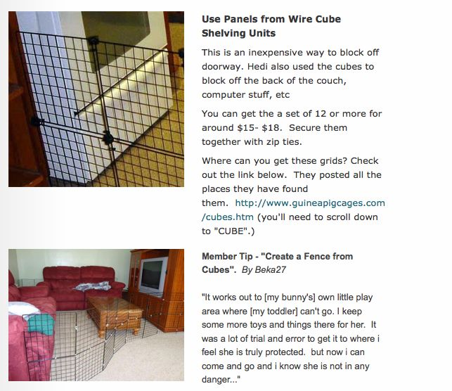 """Took a screen grab today of this DIY baby fence. Great cheap idea using purchased """"wire cubes"""" -   Can purchase some here: http://www.canadiantire.ca/en/home/storage-organization/laundry-room-storage/4-cube-wire-shelf-0680700p.html?utm_campaign=bazaarvoice&utm_medium=SearchVoice&utm_source=RatingsAndReviews&utm_content=Default#.U1_r5sfucfs"""