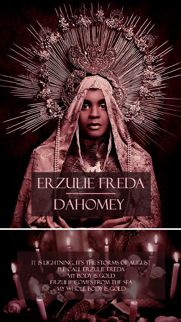 In Haitian Vodou, Eruzulie Freda is the lwa of Love, Beauty, and Luxury. Coquettish and very fond of beauty and finery, Erzulie Freda is femininity and compassion embodied. During ritual possession, she may enter the body of either a man or a woman. She enjoys the game of flirtation and seduces people without distinguishing between sexes. However, she also has a darker side. She is often seen as jealous, spoiled, and dramatic. If a person does not please her for whatever reason, she will…