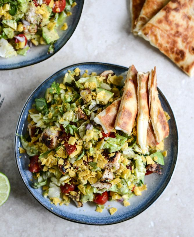 Chopped Chicken Taco Salads with Cheese Quesadilla Strips I howsweeteats.com