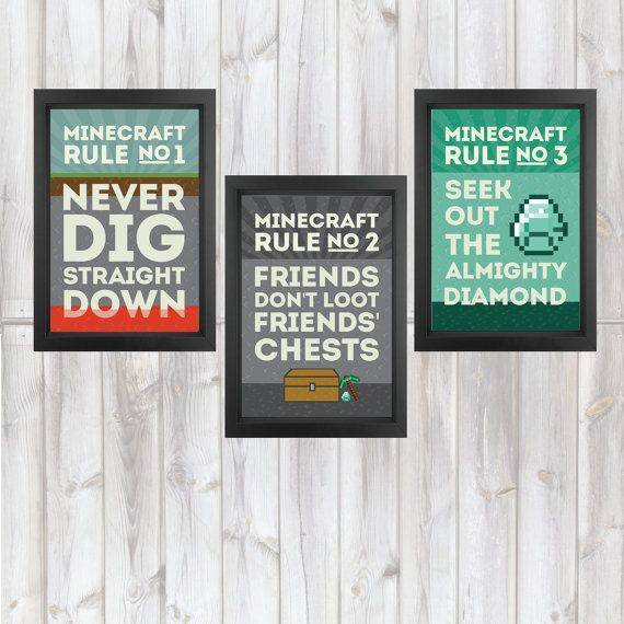 MineCraft Rules Poster Set Buy Three and by itsDesignsByChelsea, $29.99