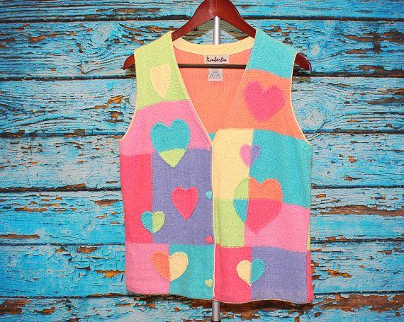 True Vintage 80s TimberLea Heart Pastel Patchwork Knit Cardigan Sweater Vest Pink Purple Yellow Green Rainbow Women Large