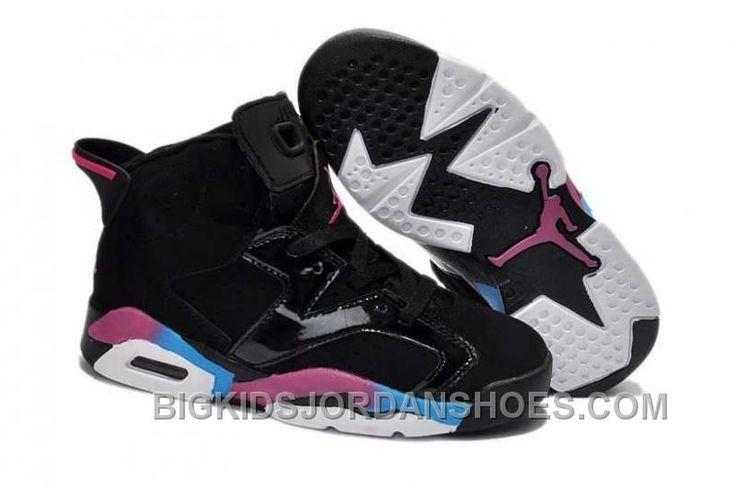 http://www.bigkidsjordanshoes.com/nike-air-jordan-6-kids-black-pink-blue-shoes-new.html NIKE AIR JORDAN 6 KIDS BLACK PINK BLUE SHOES NEW Only $84.07 , Free Shipping!