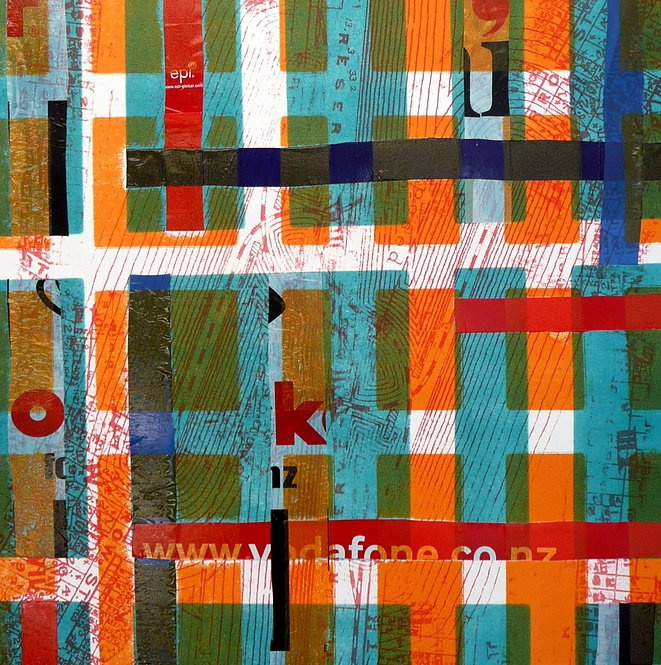 Kym Burke - Crossed Wires - mixed media on paper