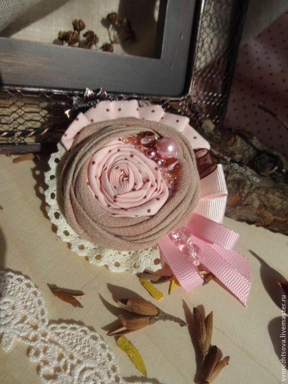 Купить Брошь текстильная - розовый, молочный, пыльно-розовый, брошь, брошь…