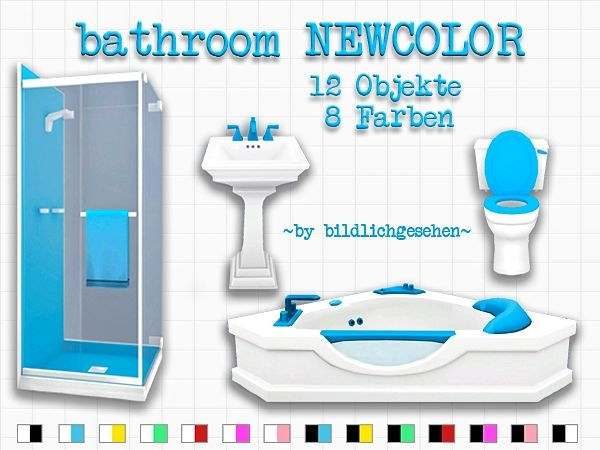 Newcolor bathroom by bildlichgesehen at akisima sims 4 for Restroom stuff