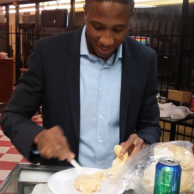 He couldn t even wait to get to a chair before he ripped open the moi-moi and bread. #moimoi #bread #nigerianfood