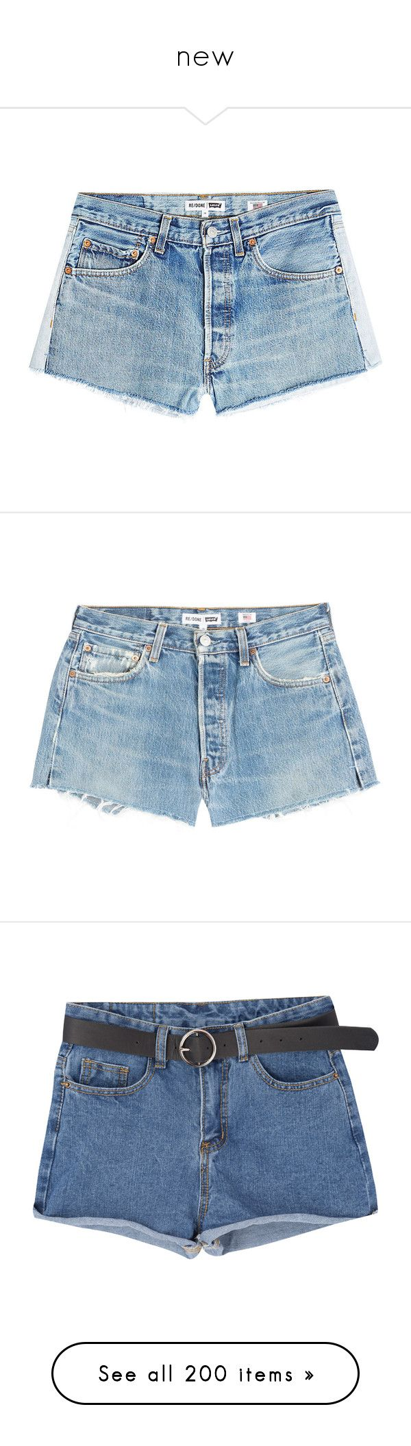 """""""new"""" by jojogena ❤ liked on Polyvore featuring shorts, bottoms, denim, blue, short jean shorts, cutoff shorts, cutoff jean shorts, t by alexander wang shorts, blue jean shorts and pants"""
