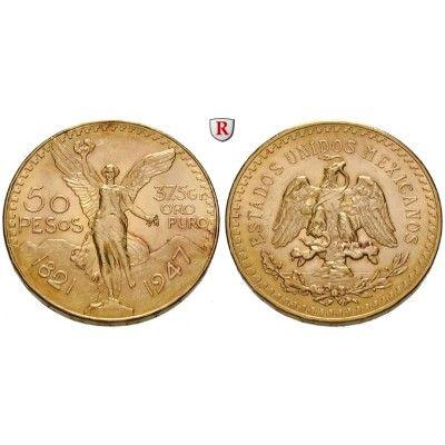 Mexiko, Vereinigte Staaten, 50 Pesos 1921-1947, 37,5 g fein, vz-st: Vereinigte Staaten seit 1905. 50 Pesos 37,5 g fein, 1921-1947.… #coins