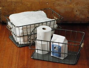 71 best images about wired baskets and c0ntainers on pinterest vintage baskets wire for What to put in bathroom baskets