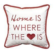 "17"" Outdoor Toss Pillow - Sunbrella Canvas Fabric with Home is Where the Heart Is Embroidery"