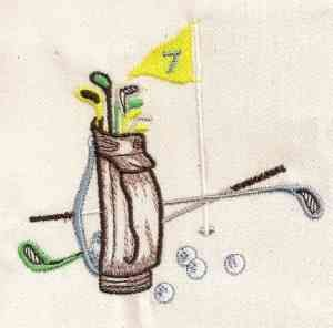 This free embroidery design is a bunch of golf clubs and a bag. This would be a great design for a golf towel.
