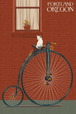 Haven't seen anyone riding these around the streets of Portland, but it wouldn't surprise us! Portland, Oregon - Bicycle & Cat Letterpress - Lantern Press Poster
