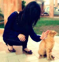 Girl with cat hidden face girls dp for Facebook profile