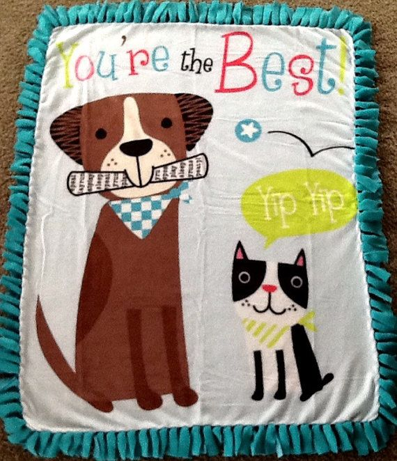 You're the best dog print fleece tie blanket, reversible tie blanket. Shop here: https://www.etsy.com/listing/263221492/youre-the-best-dog-print-fleece-tie?ref=shop_home_active_4 #dogs