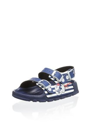 55% OFF Birki's Kid's Mickey & Minnie Striped Sandal (Blue/White)