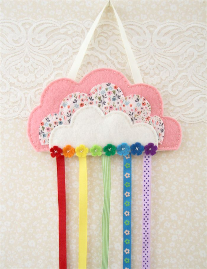 Cloud and rainbow hair clips holder, felt, pink flowers, organiser from Plushka