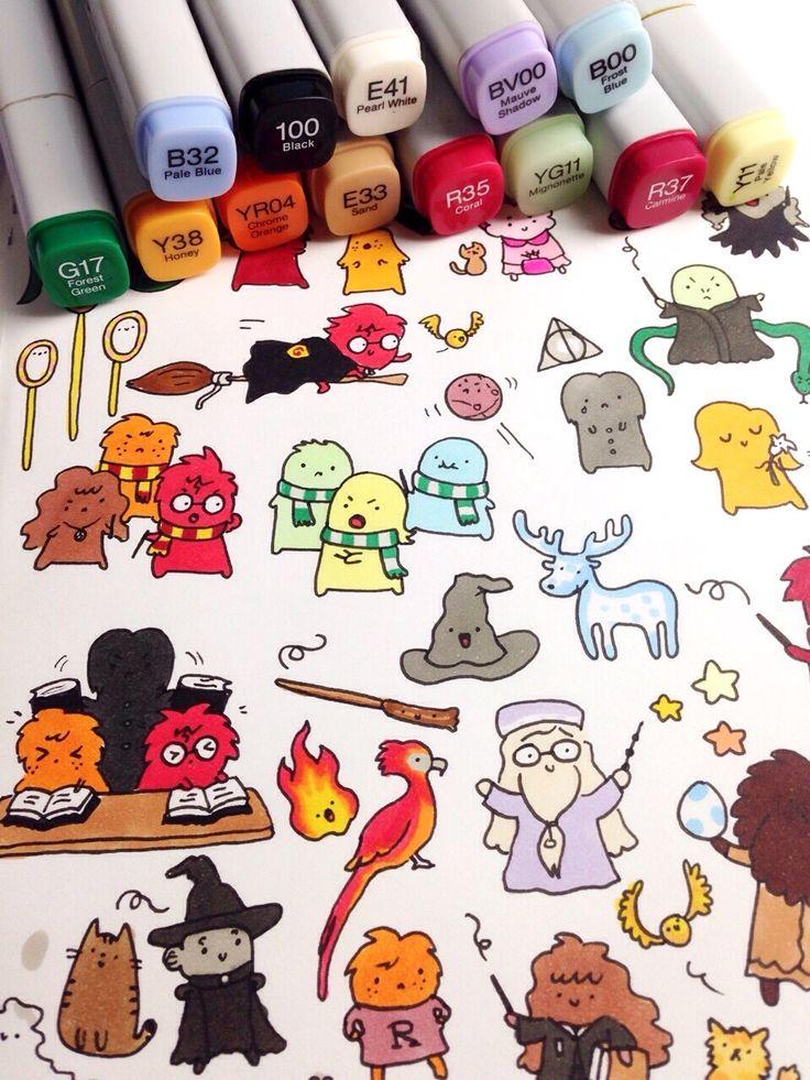 Potter frenchy party - Shopping : les doodles Harry Potter de KiraKiradoodles - mug, poster, tote bag...