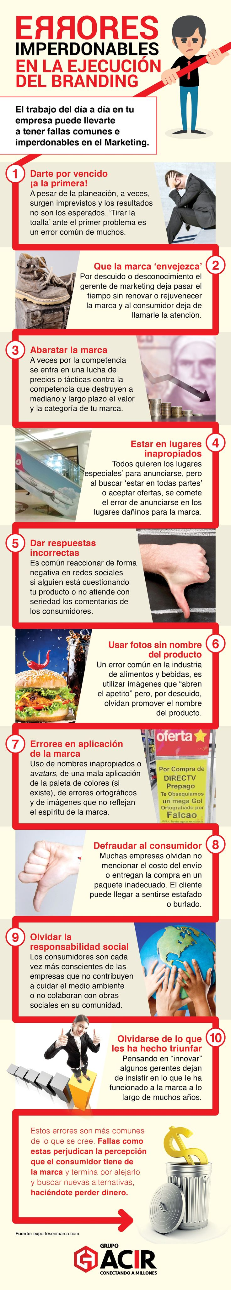 10 Errores imperdonables en la ejecución del branding #infografía #infographic #marketing