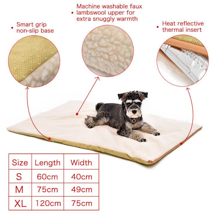 Dog Winter Bed Super Warm Comfortable Pet Heating Pad Mat Washable NonSlip Cover #Unbranded