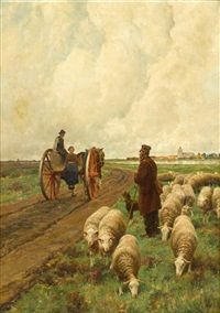 A roadside conversation by Frans van Leemputten