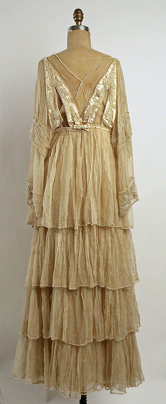 ~Beaded silk wedding dress (back) by Lucile, British, 1915~